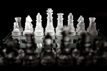 View of the White Side of a Chessboard from Behind the Black