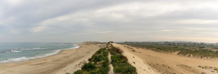 Sandy beach at mediterranean sea in Israel.