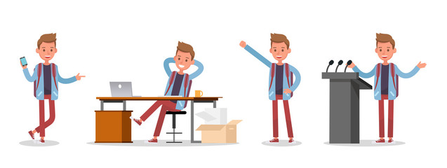 Office man worker character vector design. no33