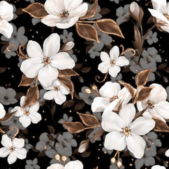 Elegance seamless pattern with white apple flowers and golden elements