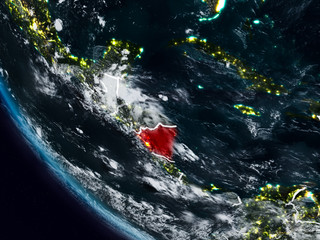 Nicaragua at night from space