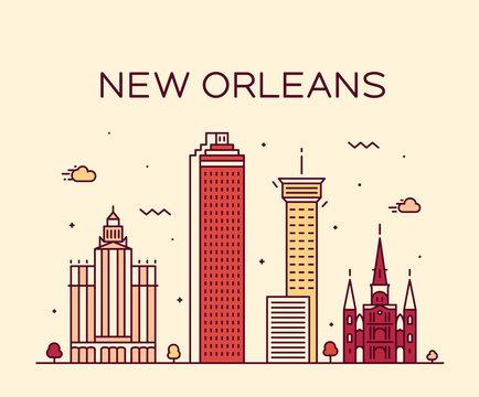 New Orleans USA skyline vector line art style