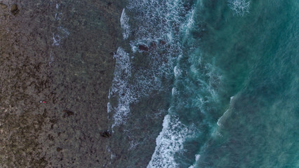 Aerial view of tropical beach with sea  wave