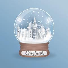 Fototapete - Paper cut style of world famous landmark of London, England in a globe, glass ball. Vector illustration.