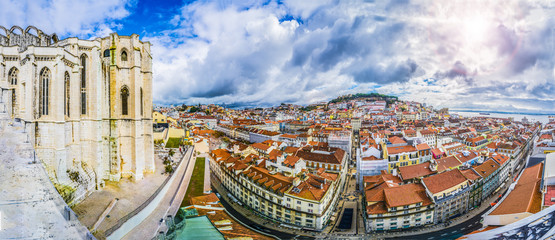 Wall Mural - Aerial view,Carmo Convent cathedral and Lisbon, Portugal