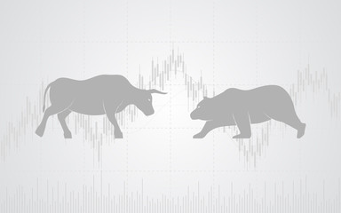 flat icon design of Abstract financial chart with bulls and bear in stock market on white color background