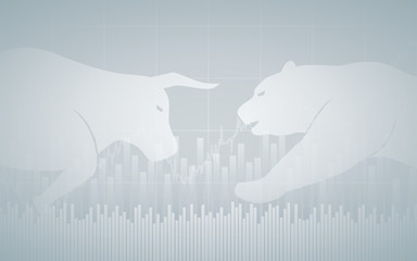 flat icon design of Abstract financial chart with bulls and bear in stock market on grey color background