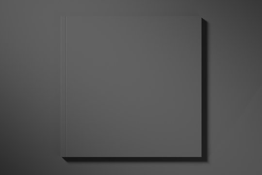 Blank template booklet or brochure square on a black background. Mock up. 3d rendering