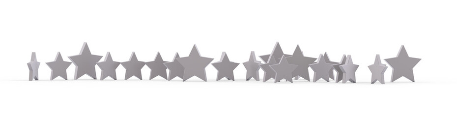 Group of silver stars isolated on white background. 3D rendering.