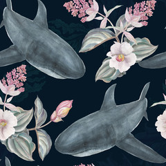 Seamless hand illustrated floral pattern with pink Medinilla Magnifica and sharks