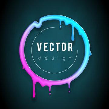 Art melting frame 3d flowing flux circle drop leak abstract creative banner template vector illustration