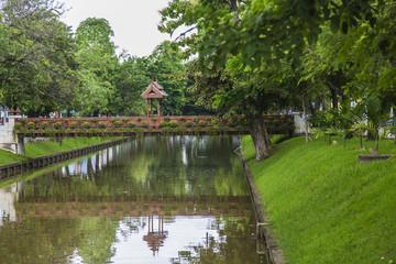 A bridge walkway over mote in Chaing Mai  Thailand.