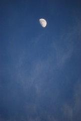 Texas Moon in Blue Sky