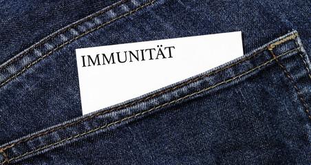 Immunität Visitenkarte in einer Hosentasche