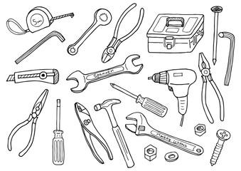 工具のイラストセット(モノクロ)