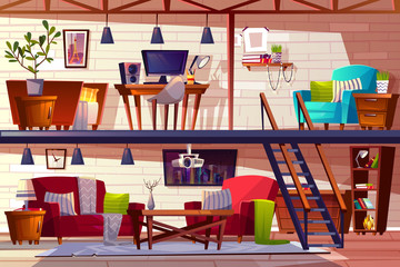 Loft lounge room interior vector illustration of two storey modern cozy spacious apartments. Bedroom and cabinet furniture of blanket on bed, armchair and carpet with tv projector and computer
