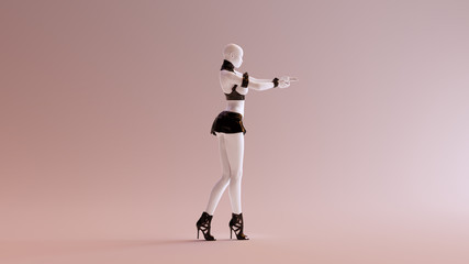 Sexy White Abstract Woman in a Short Skirt Making a Gun Sign with her Hands 3d illustration