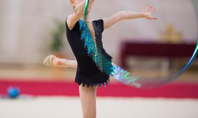 Aluminium Prints Gymnastics Rhythmic gymnastics competition - blurred