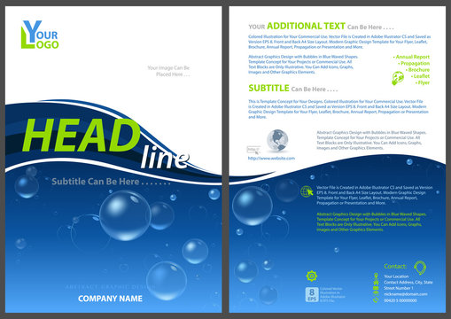 Flyer Template with Water Bubbles - Abstract Modern Layout as Background Illustration for Your Projects, Vector