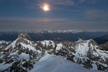 Alpstein im Mondlicht bei Nacht