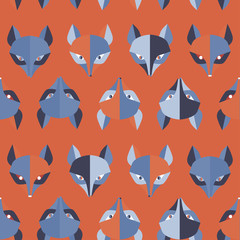 Paper foxes red vector seamless pattern