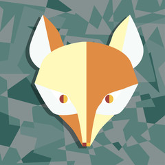 Paper foxes dark turquoise vector poster