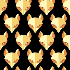 Paper foxes black  vector seamless pattern