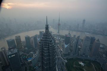 Aluminium Prints Shanghai asia city with traffic