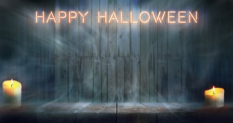 Misty Happy Halloween room. Night wooden table and wall backgroundwith neon caption.