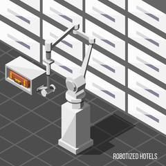 Robotized Hotels Isometric Background