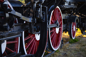 wheels of an old train close-up
