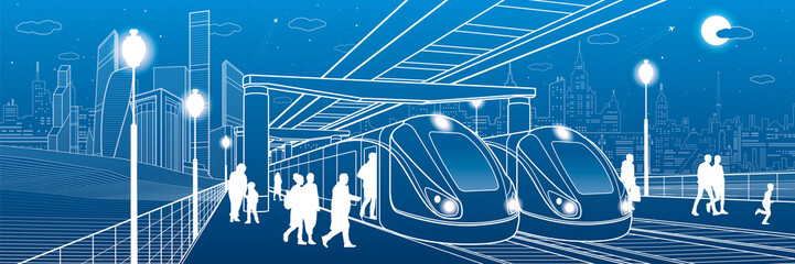 Wall Mural - Two trains at the station. Passengers make a landing in transport. Urban infrastructure illustration. Vector design art