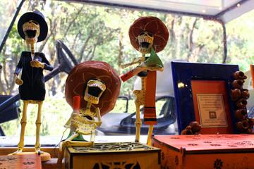 mexican colorful skulls skeleton, dias de los muertos, day of the death dead
