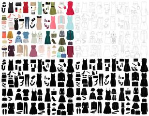 set of women fashion clothes