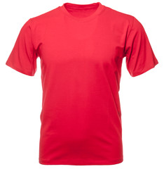 Red heathered shortsleeve cotton tshirt on invisible mannequin isolated