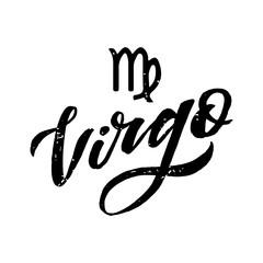 Virgo lettering Calligraphy Brush Text horoscope Zodiac sign