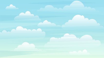 Sky and white clouds background. Sunny day sky. Background for web ads and banners