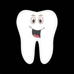 Smiling tooth icon, Tooth vector icon