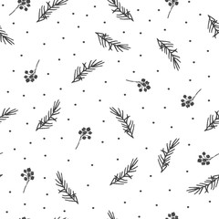 Winter seamless pattern. Hand drawn branches.