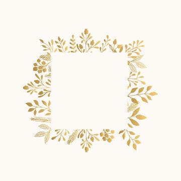 Luxury golden frame for invite, wedding, certificate.