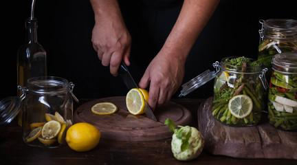 Lemon preserves ingredients in a canning jar fermented food