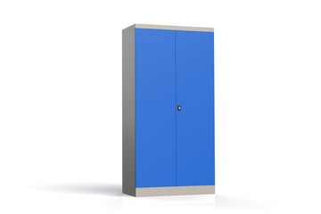 Metal cabinet with shelves for tools. Fireproof shelving for documents. 3D model rendering.