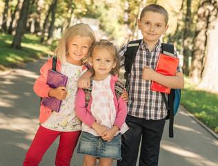 Little pupils standing