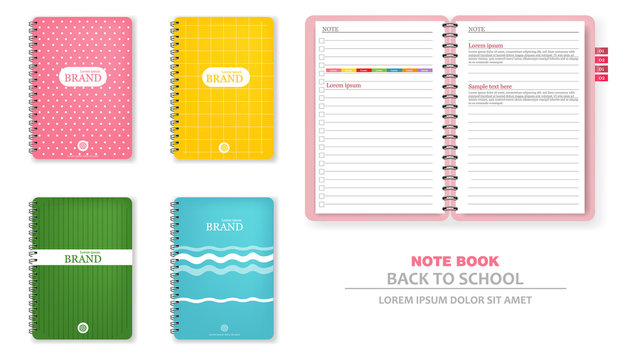 Colorful note books Vector realistic. 3d detailed illustrations