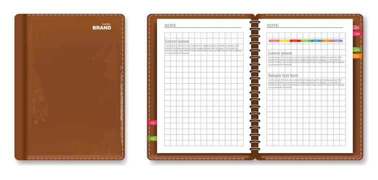 Leather note book Vector realistic. 3d detailed illustrations