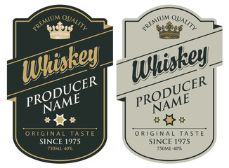 Set of two vector labels for whiskey premium quality in the figured frame with crown and calligraphic inscription in retro style