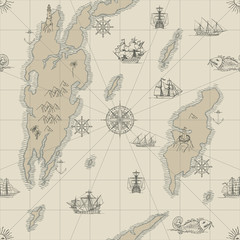 Vector abstract seamless background on the theme of travel, adventure and discovery. Old hand drawn map with vintage sailing yachts, wind rose and nautical symbols