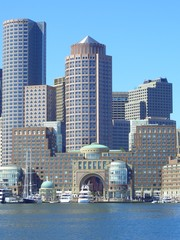 Skyline of Boston from Boston Harbor, Massachusetts, New England, USA