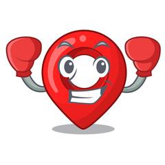 Boxing GPS navigation pin on character cartoon