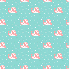Cute snail hand drawn seamless pattern background, vector illustration
